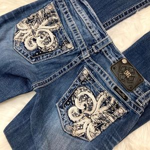 Miss Me Flower Pocket Bootcut Jeans